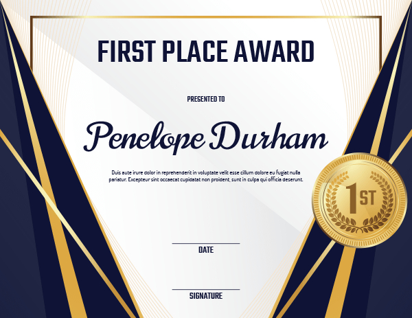 Printable First Place Medal Award Certificate Template throughout Quality First Place Certificate Template