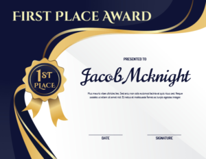 Printable First Place Ribbon Award Certificate Template for First Place Award Certificate Template