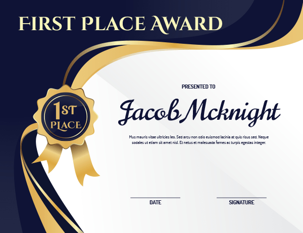 Printable First Place Ribbon Award Certificate Template pertaining to First Place Certificate Template