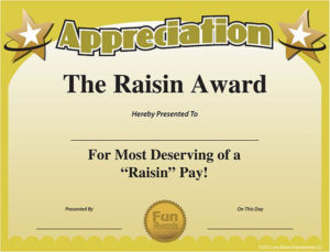 Printable Funny Work Awards Certificate Of Appreciation within Unique Fun Certificate Templates
