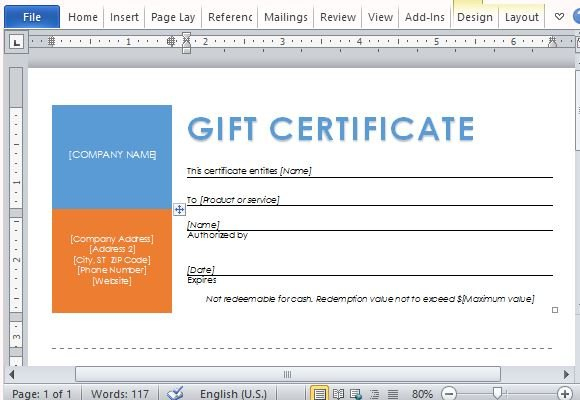 Printable Gift Certificates Template For Word pertaining to Company Gift Certificate Template