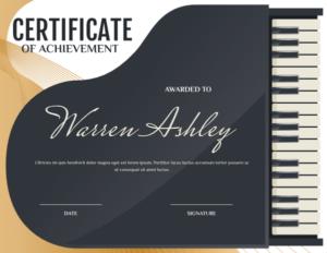 Printable Grand Piano Award Certificate Template within Quality Piano Certificate Template Free Printable
