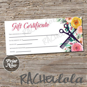 Printable Hair Salon Gift Certificate Template, Hair Stylist Gift Voucher,  Gift Card, Instant Download, Mothers Day, Birthday, Floral Spring For Free Printable Beauty Salon Gift Certificate Templates