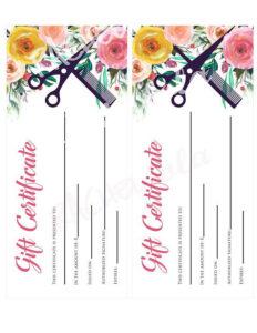Printable Hair Salon Gift Certificate Template Hair Stylist with Salon Gift Certificate Template