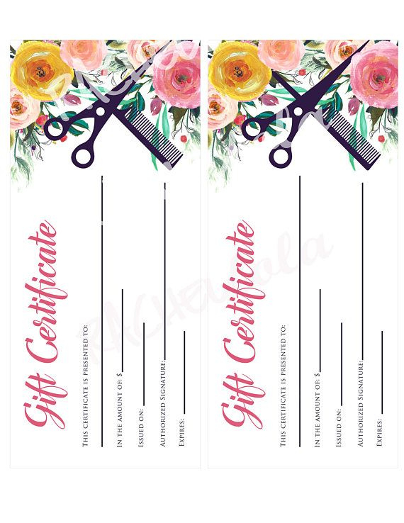 Printable Hair Salon Gift Certificate Template Hair Stylist within Free Printable Beauty Salon Gift Certificate Templates
