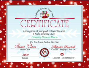 Printable Letter From Santa And Nice List Certificate throughout Santas Nice List Certificate Template Free