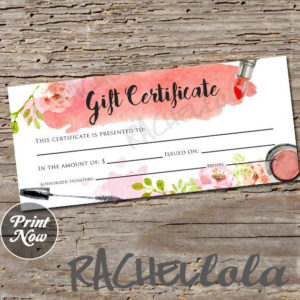 Printable Makeup Gift Certificate Template, Mary Kay Voucher with New Mary Kay Gift Certificate Template
