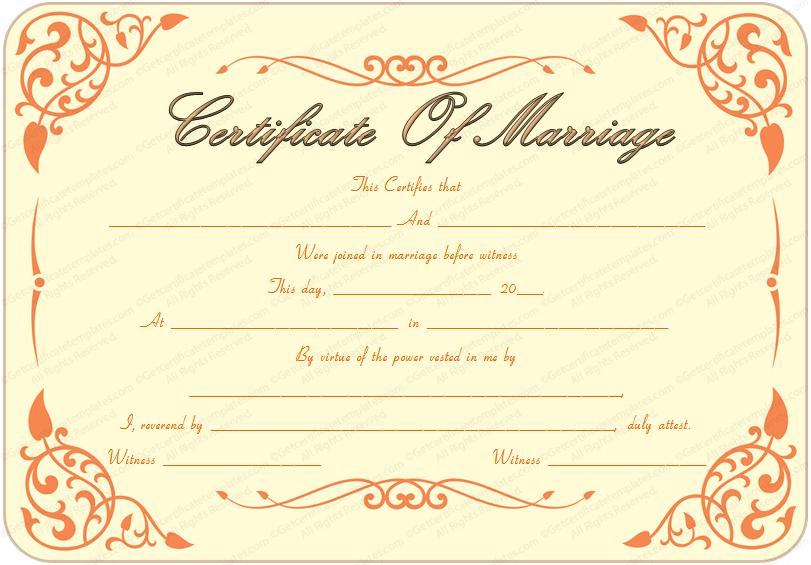 Printable Marriage Certificate inside Best Blank Marriage Certificate Template
