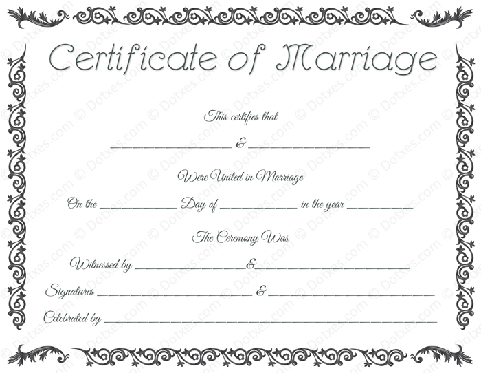 Printable Marriage Certificate Template - Dotxes | Marriage inside Best Blank Marriage Certificate Template