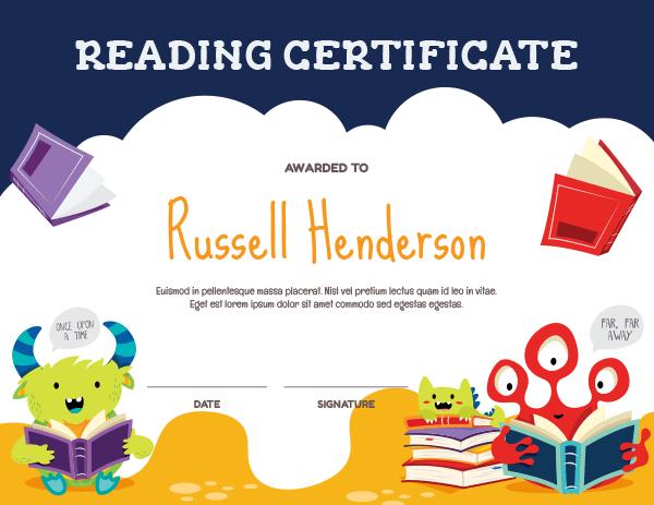 Printable Monster Reading Award Certificate Template for Reading Certificate Template Free