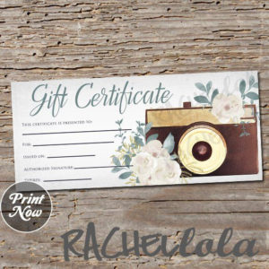 Printable Photography Gift Certificate Template Photo for Photoshoot Gift Certificate Template