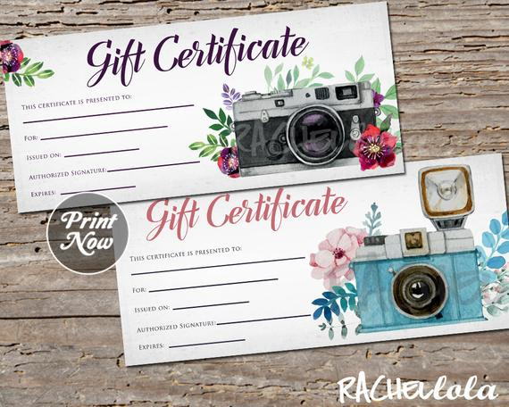 Printable Photography Gift Certificate Template, Photo intended for Photoshoot Gift Certificate Template