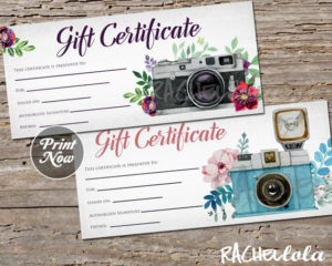 Printable Photography Gift Certificate Template, Photo Session Voucher,  Spring, Mothers Day, Christmas, Instant Download, Photographer with Free Photography Gift Certificate Template