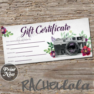 Printable Photography Gift Certificate Template, Red Floral for Quality Printable Photography Gift Certificate Template