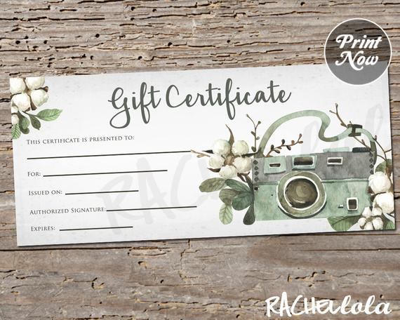 Printable Photography Gift Certificate Template, Spring Photo Session  Voucher, Summer, Fall Rustic Card, Instant Download, Photographer for Printable Photography Gift Certificate Template