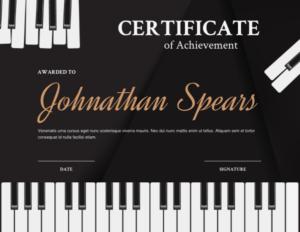 Printable Piano Keyboard Award Certificate Template in Quality Piano Certificate Template Free Printable
