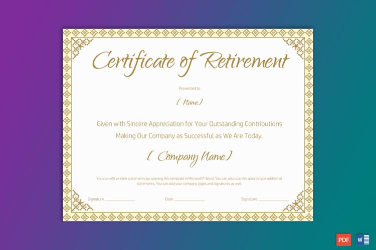 Printable Retirement Certificate For Teacher - Gct throughout Retirement Certificate Template