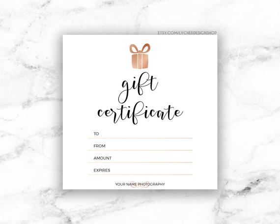 Printable Rose Gold Gift Certificate Template   Editable Photography Studio  Gift Card Design   Photoshop Template Psd   Instant Download pertaining to New Custom Gift Certificate Template