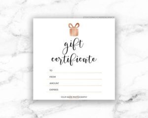 Printable Rose Gold Gift Certificate Template   Editable Photography Studio  Gift Card Design   Photoshop Template Psd   Instant Download regarding Present Certificate Templates