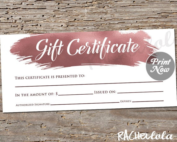 Printable Rose Gold Gift Certificate Template, Photography in New Salon Gift Certificate Template