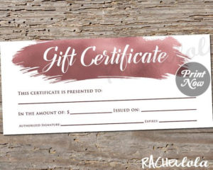 Printable Rose Gold Gift Certificate Template, Photography within Salon Gift Certificate