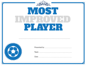 Printable Soccer Most Improved Player Award with regard to New Most Improved Player Certificate Template