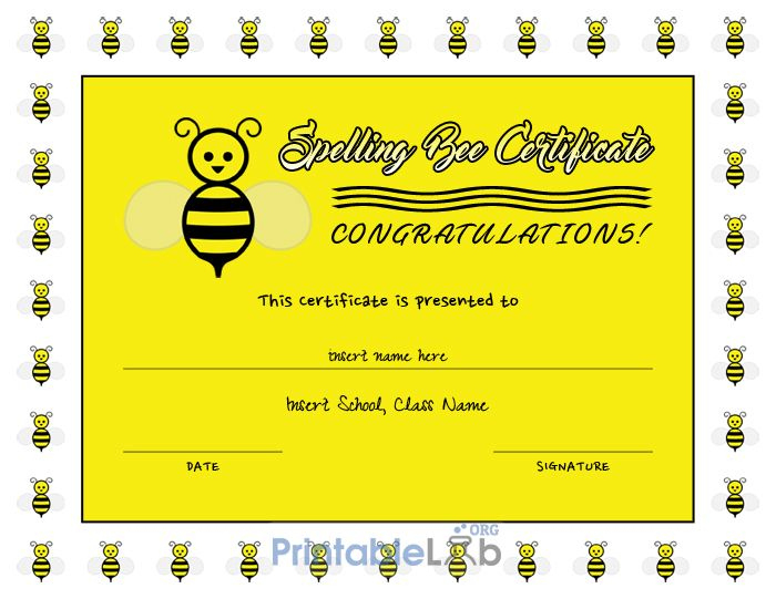 Printable Spelling Bee Certificate Sample In Yellow, Laser with regard to Spelling Bee Award Certificate Template