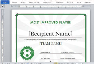 Printable Sports Certificate Template For Word for New Soccer Award Certificate Template