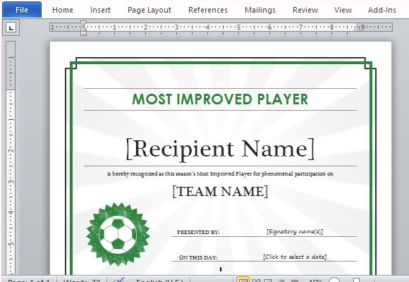 Printable Sports Certificate Template For Word intended for Quality Soccer Certificate Template Free 21 Ideas