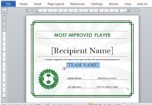 Printable Sports Certificate Template For Word pertaining to Word 2013 Certificate Template