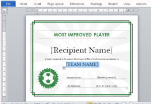 Printable Sports Certificate Template For Word within Athletic Certificate Template