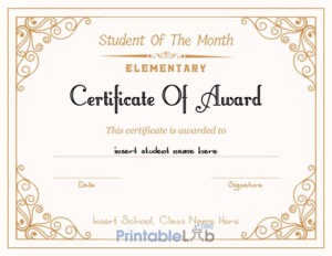 Printable Student Of The Month Award – Elementary for Best Free Printable Student Of The Month Certificate Templates