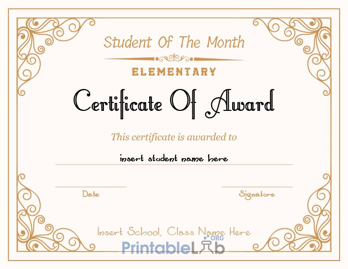Printable Student Of The Month Award - Elementary for Best Free Printable Student Of The Month Certificate Templates