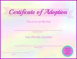 Printable Stuffed Animal Adoption Certificates   Adoption for Unique Stuffed Animal Birth Certificate Templates