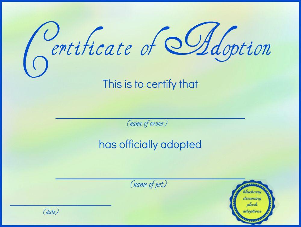 Printable Stuffed Animal Adoption Certificates   Adoption with Unique Stuffed Animal Birth Certificate Templates