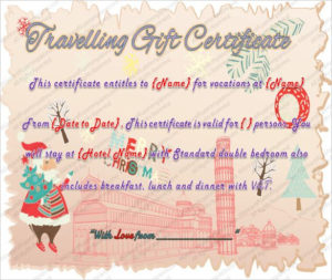 Printable Travel Gift Certificate Template – Word Pdf Psd with regard to Unique Free Travel Gift Certificate Template