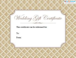Printable Wedding Gift Certificates | Lovetoknow regarding Free Editable Wedding Gift Certificate Template
