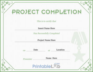 Project Completion Certificate Template In Highland, Silver in Certificate Template For Project Completion