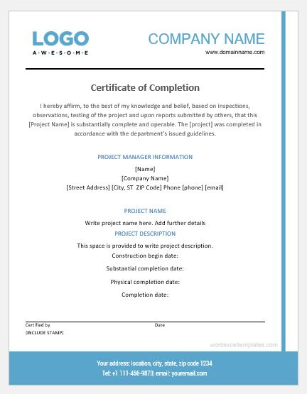 Project Completion Certificate Templates   Word & Excel intended for Best Certificate Template For Project Completion