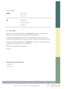 Promotion Acceptance Letter – Pdf Templates | Jotform pertaining to Quality Certificate Of Job Promotion Template 7 Ideas