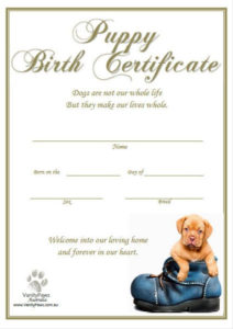 Puppy Birth Certificate – Blue Shoe (Instant Download) | Dog with regard to Best Dog Birth Certificate Template Editable