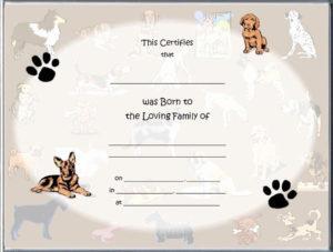 Puppy Birth Certificate Template Free Unique 85 Best Raisin for Fresh Pet Birth Certificate Templates Fillable