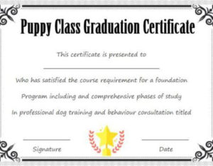 Puppy Class Graduation Certificate Template   Puppy Classes for New Dog Training Certificate Template