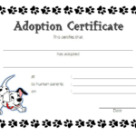 Puppy Dog Adoption Certificate Template Free 2 | Adoption in Best Dog Adoption Certificate Editable Templates