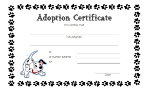 Puppy Dog Adoption Certificate Template Free 2 | Adoption in Stuffed Animal Adoption Certificate Template Free