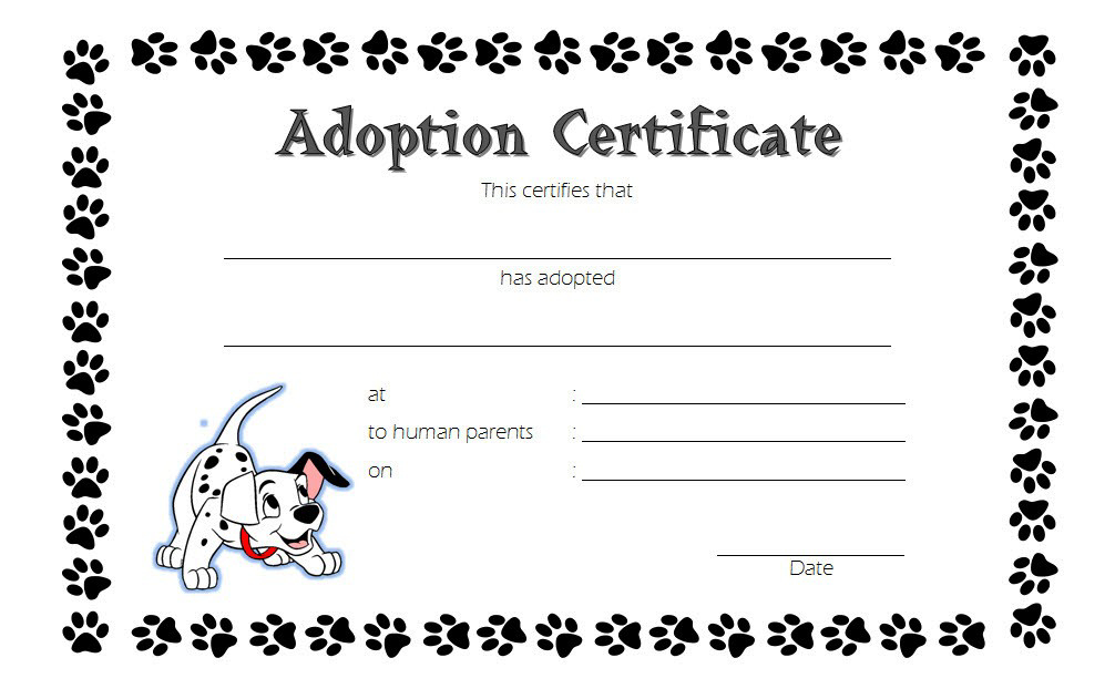 Puppy Dog Adoption Certificate Template Free 2 | Adoption with regard to Dog Adoption Certificate Template