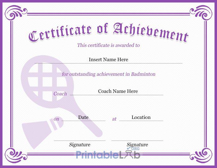 Purple Heart, Pink Lace And Trendy Pink Badminton regarding Badminton Achievement Certificates