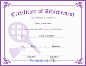 Purple Heart, Pink Lace And Trendy Pink Badminton regarding Unique Badminton Certificate Templates