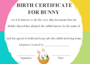 Rabbit Birth Certificate: 10 Certificates Free To Print And with Fresh Rabbit Birth Certificate Template Free 2019 Designs