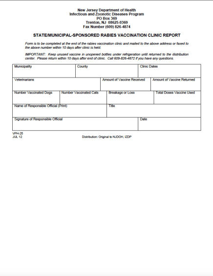 Rabies Vacc Clinic Report with Rabies Vaccine Certificate Template